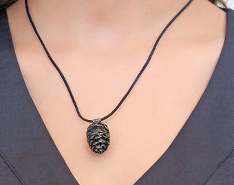Pine Cone necklace, leather Necklace, Nature jewelry, 925 sterling silver oxidation reaction, Alder tree, Pine cone pendant, New design,OOAK