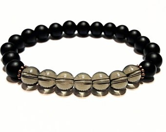 onyx and smoky quartz bracelet womens beads bracelet smoky quartz jewelry womens gift for women healing jewelry black stone bracelet 8 mm