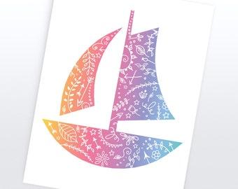Sail Boat Nautical Art | 4 Sizes | Printable |  Art