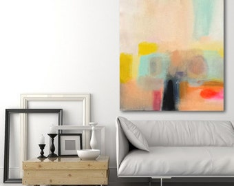 large abstract painting coral, turquoise, yellow made to order