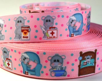 "1"" Sick Hippo - Get Well Soon - Grosgrain Ribbon"