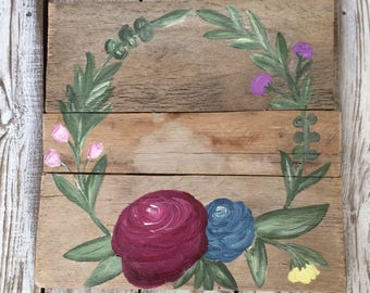 Custom Floral Sign | Custom Sign | Home Decor | Wall Hanging | Hand Painted Sign | Wooden Sign | Floral |