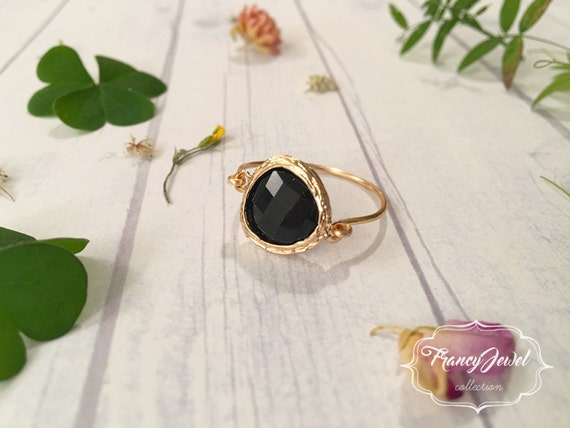 Dark crystal, gold ring, dark bright crystal, unique ring, handmade ring, 18k gold plated, made in Italy, high quality, not tarnish jewelry