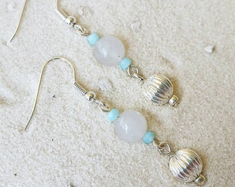 Silver with White and Aqua