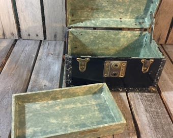 Vintage Steamer Trunk Jewelry Box/Small Vintage Steamer Trunk Trinket Box/Trinket Box/Steamer Trunk