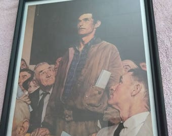 Nice Vintage Framed Lithograph from Norman Rockwell (Freedom of Speech)