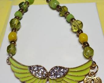 Light green wings bracelet