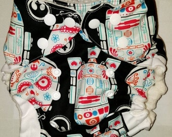 Robots-Black-White-Teal-Turquoise-Pink-Robots-Sugar Skull-One Size-Pocket-Cloth Diaper-Boy-Girl-Gender Neutral