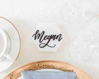 Handlettered Marble Place Cards, Custom Calligraphy, Wedding Decor