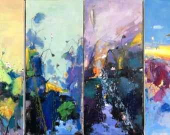 4 panels of waterlily oil painting 118