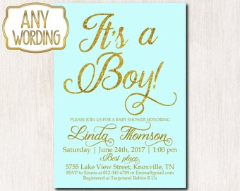 It's a boy invitation, Baby Boy Sprinkle invitation, Baby Boy Shower Invitation, Blue Teal gold glitter baby shower, Calligraphy font - 1626