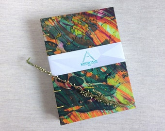 Coptic handmade travel notebook sewing paper notebook cover marble hand painted inks fluor colors A6 special idea gift stationery Draw moder
