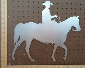 "Metal CNC 16"" Cowboy on Horse"