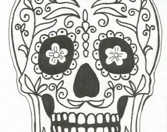 Hand Drawn Sugar Skull Nail Decals