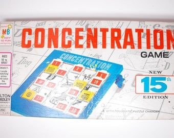 1970 Concentration Game Fifteenth (15th) Edition by Milton Bradley - Complete    (986)