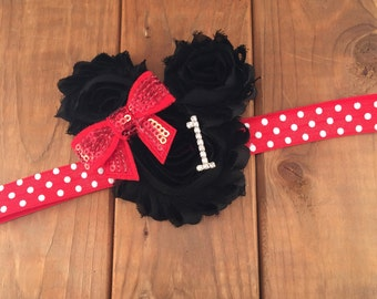 1st Birthday Headband, Minnie Mouse Inspired, Red & Black Headband, Shabby Chic, First Birthday Headband, Photo Prop, Cake Smash