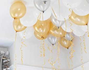 30 Gold, Silver & White Ceiling Balloons | Party Decoration | Party Balloon Decor | Birthday party Decor | New Years Eve Party Decor
