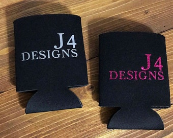 2 Custom beverage insulator, personalized drink coolie, monogram coolie, wedding favors, party favors
