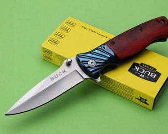 Knife blade steel 10 cm sleeve BUCK Pocket folding wood 12.5 cm Outdoor