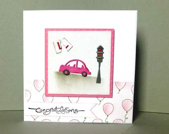 passed driving test card,  congratulations on passing driving test card, handmade card, congratulations card, driving test card
