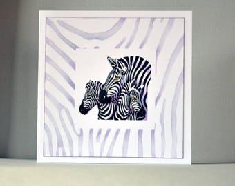 handmade card, animal card, zebra card, birthday card, men's card, birthday card for him, blank card