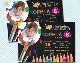 Digital Printable Art Party Birthday Invitation. Boy Birthday