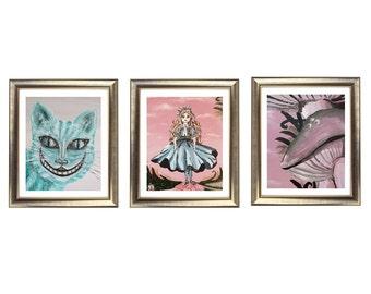 Alice in Wonderland Painting, Alice in Wonderland Decor, Alice in Wonderland Wall Art, Alice and the Cheshire Cat, Wonderland Art, Abstract