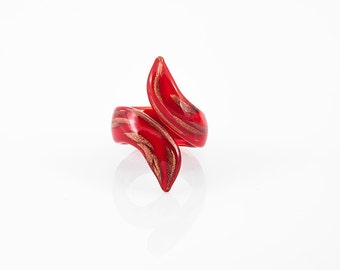Red Goldstone Snake Ring