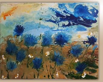 Cornflowers – November 2015 Contemporary ART Modern Original, Acrylic Canvas Wall Art