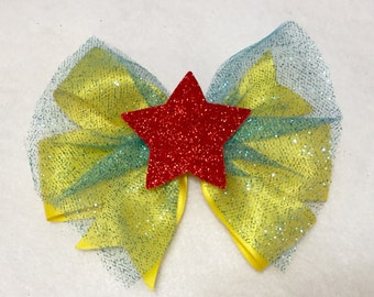 wonder woman hair bow, superhero baby bow, girls superhero bow, wonder woman headband, star hair bow, yellow hair bow, red star bow