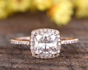 7.5mm Cushion cut 2ctw Forever Classic Moissanite engagement ring,Deco diamond wedding band,14k rose gold wedding ring,promise,gift for her