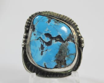 Vintage Navajo Turquoise Sterling Silver Ring #E64