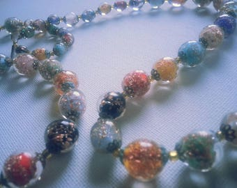 Vintage Venetian Multi-Color Bead Double Strand Necklace With Bead Pendant