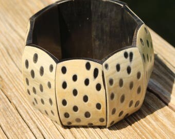 Wood Cuff Bracelet Spotted Leopard Wood Stretch Bracelet Exotic
