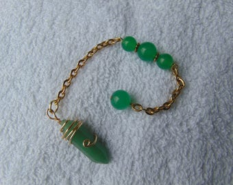 pendulum, aventurine, wire wrapped,