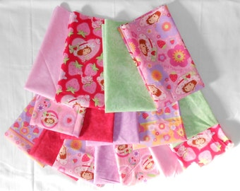 Strawberry Shortcake Fabric 16pc Fat Quarter Bundle- Strawberry, mint, red, purple, pink,  bright, pale (#O200)