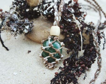 Hemp macrame necklace shown with green Aventurine