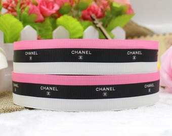 "Designer  Pink, White and Brown Grosgrain 1"" Printed Ribbon"