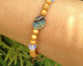 Bohemian bracelet/ Stackable bracelet/ Abalone shell/ Gemstones jewelry/ Women's bracelet/ Yoga bracelet/ gift ideas