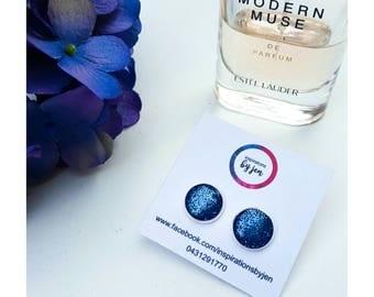 Blue resin earrings