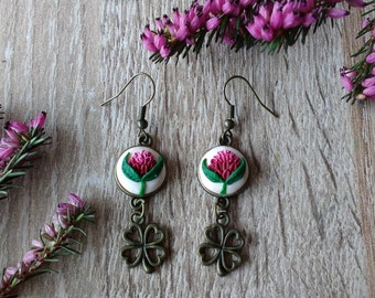 Clover Earrings Floral earrings Embroidery Earrings Hand sculpted jewelry  Floral  jewelry Polymer clay filigree applique  Dangle earrings
