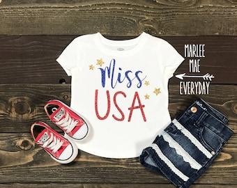 Miss USA, Miss America, Glitter 4th of July t shirt/onesie