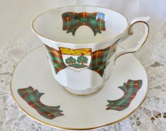 Elizabethan Fine Bone China Footed Teacup and Saucer Prince Edward Island Tartan