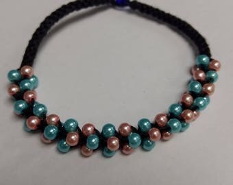 Chinese knot pink and blue bracelet