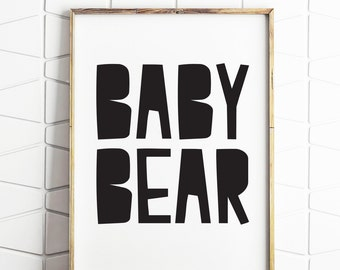 baby bear art, bear printable, bear wall art, instant download, digital wall decor, baby bear decor