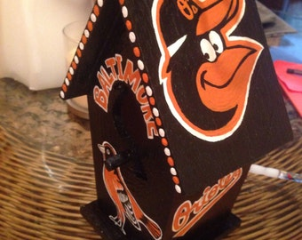 Hand painted Orioles birdhouse