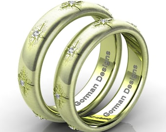 Gorgeous Italian 18K Green Gold Rigato Diamond Wedding Band Set G1112SB-18KGGRD