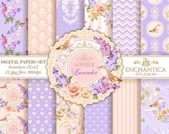 Lavender Digital Papers, Digital Paper Floral, Shabby Chic Digital Paper, Lavender Patterns, Whimsical Digital Paper, Roses Digital Paper