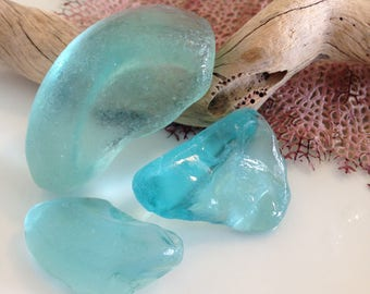 Light Blue Sea Glass, Loose Gemstones, Pendant Sized, Jewelry Supplies, Collectibles, Surf Tumbled, Authentic Sea Glass, Rare Beach Glass