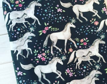 Unicorns with Stars and Flowers Quilting Fabric. Fabric by the Yard. Cotton Knit Jersey Minky Unicorn Horse Fantasy Baby Girl Nursery Floral